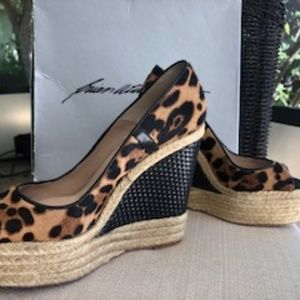 Brian Atwood Size 36 (7) Leopard Print Wedges